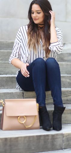Dying over this outfit! | Fashion blogger Mash Elle styles a black and white striped top with Hudson high waisted jeans and a pink blush Chloe Faye crossbody bag.