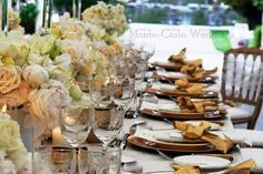 Gold everywhere on the table! Wedding by Monte-Carlo Weddings