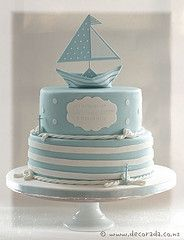 Two tier nautical themed christening cake, made to match the invitations which included a paper boat replicated in sugar work for the top of the cake. Pretty Cakes, Cute Cakes, Beautiful Cakes, Amazing Cakes, Rodjendanske Torte, Christening Cake Boy, Nautical Cake, Sailboat Cake, Nautical Theme