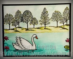Stampin' Up! Swan Lake and Lovely as a Tree create a beautiful scene together.  Use with any sentiment. To purchase stamps visit http://TheCraftyStampersDen.stampinup.net.  #SwanLake is available in the Stampin' Up! Annual Catalog 2017-2018.