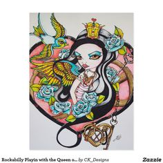 Rockabilly Playin with the Queen of Hearts Postcard