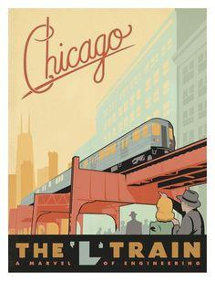 Chicago, the L Train - Affischer av Anderson Design Group på AllPosters.se