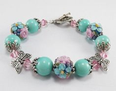 RESERVED Butterfly Lampwork Bracelet Aqua and by thepinkmartini