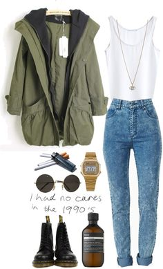 woolfen:   Untitled #243 by woolfen featuring a green coat Green coat / High waisted skinny jeans / Dr. Martens  boots, $160 / Minor Obsessions diamond necklace / American Apparel / Costume sunglasses / Aesop clear hair care, $28