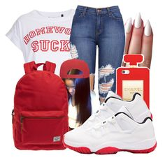 """""""School✏"""" by honey-cocaine1972 ❤ liked on Polyvore featuring Tee and Cake and Herschel"""