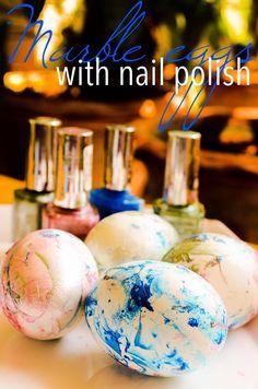 Creative way to dye easter eggs- marble nail polish #dye #egg