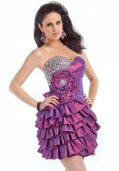 Sweetheart Elastic Woven Satin A line Zipper Back Sleeveless Short Length Evening Dress