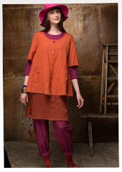 Effen blouse van katoen/modal