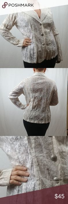 PASSION CONCEPT LACE BUTTON DOWN BLAZER SIZE LARGE PASSION CONCEPT LACE BUTTON DOWN BLAZER SIZE LARGE.   OFF WHITE AND WHITE COMBO LACE FABRIC. LINING 100 % POLYESTER, BODY NYLON AND SPANDEX. PASSION CONCEPT Jackets & Coats Blazers