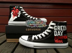 CONVERSE+All+Star+GREEN+DAY+pop+punk+band+hand+painted+shoes+zapatos+scarpe+#Converse+#Athletic