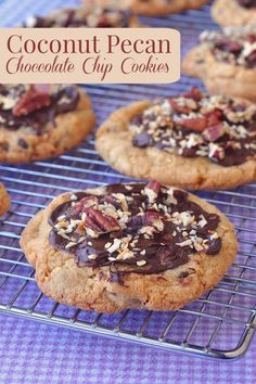 Chocolate Chip Coconut Pecan Cookies - chewy chocolate chip cookies with crispy edges and packed with coconut and crunchy pecans. Make them even more eye catching with easy additional garnishes.