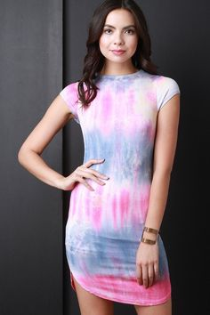 Tie Dye Cap Sleeves Mini Dress