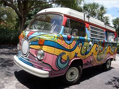 nice swirly painted volkswagen bus painted by Ken Mitchell
