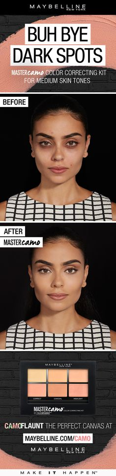 Target dark spots, imperfections and dark under eye circles with Maybelline Facestudio Master Camo Color Correcting Kit.  Color correcting pigments brighten dark spots for medium complexions.  Use the concealer and highlighter shades to create the perfect base.