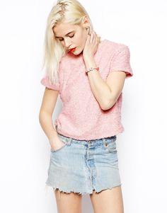 ASOS Crop T-Shirt in Fluffy Fabric