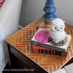 DIY Herringbone Stenciled Table (via Classy Clutter)