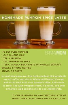 Skinny Homemade Pumpkin Spice Latte! Saves you loads of cals when drinking this instead of your Starbucks!!