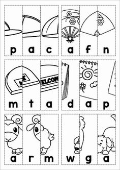 Cut out the boxes and arrange them in correct order to reveal the CVC picture. Jolly Phonics Activities, Learning Phonics, Vowel Worksheets, Kindergarten Worksheets, Early Childhood Program, Alphabet Phonics, Word Puzzles, Cvc Words, Kindergarten Literacy