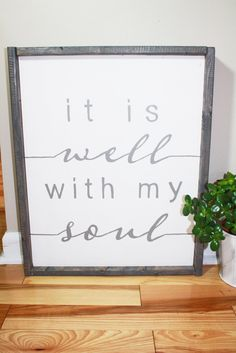 It Is Well With My Soul Farmhouse Signs Living Room Wall Decor Gray and White Neutral Wall Decor Wooden Wall Decor Hand Painted Signs by givefivedesigns on Etsy