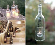Cómo reciclar botellas de cristal con estilo romántico