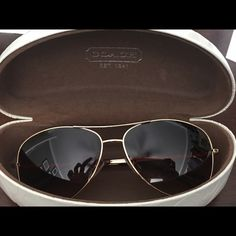 Coach Sun Glasses Great quality coach sunglasses. Gold with brown tinted lens. Rounded Aviator style. No  scratches. Only worn a couple times. They do come with case Coach Accessories Sunglasses