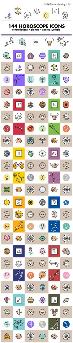 Horoscope icons and symbols for all the astrological signs.