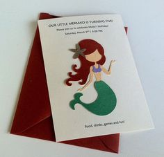 Mermaid Birthday Party Invitation Set of by DesignsbyCherryOnTop, $16.00