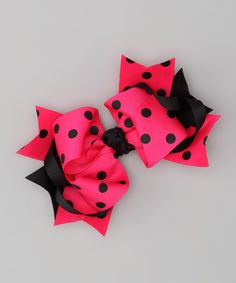 Take a look at this Hot Pink & Black Polka Dot Bow Clip by The Hair Candy Store on #zulily today!