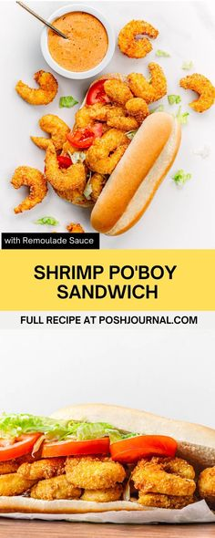 This Shrimp Po'Boy with Cajun Remoulade sauce is just so darn good! It's the perfectseafood sandwich to make for any gathering,especially on game day. The shrimp are seasoned and cooked to perfection. And the homemade remoulade sauce takes the taste to the next level.#cajun #poboy #recipe #sandwich Clam Recipes, Best Seafood Recipes, Delicious Dinner Recipes, Fish Recipes, Veggie Recipes, Lunch Recipes, Vegetarian Recipes, Cold Sandwiches, Delicious Sandwiches