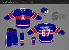 I'm not saying the Montreal Canadiens really need a third jersey, but if they wanted one, I think Avi Stein has the right idea. Go blue! Hockey Sweater, Nhl Jerseys, Go Blue, Montreal Canadiens, Jersey Designs, Concept, Sports, Adidas, Fan