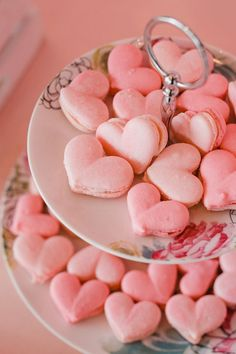 Pink Heart Macarons from a Galentine's Day Valentine Brunch on Kara's Party Ideas | KarasPartyIdeas.com (23)