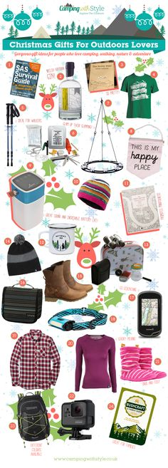 This year our Christmas Gift Guide is bigger and better than ever  packed full of gift ideas for people who love the great outdoors! From mindfulness colouring books through to funky outdoors inspired jewellery youll find some great Christmas gift ideas here. Weve done our best to include as many independent British brands as possible so you can find a gift thats a little bit different too.  Christmas Gift Ideas For Outdoors Lovers  1. SAS Survival Guide: How to Survive in the Wild 4.79…