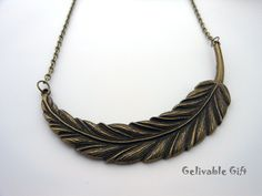 Antique brass steampunk feather necklace