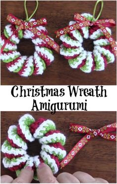 Popular Free Christmas Crochet Patterns - Petals to PicotsCrochet easy mini wreaths for your Christmas tree or to give as gifts. Step by step video tutorial. Suitable for beginners in crochet.Christmas Wreath ~ video tutorial (not in English) ~ these Crochet Christmas Wreath, Crochet Wreath, Crochet Christmas Decorations, Crochet Ornaments, Christmas Crochet Patterns, Holiday Crochet, Noel Christmas, Crochet Crafts, Yarn Crafts