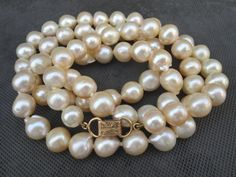 Ming's of Honolulu Large Baroque Pearls Necklace 14K Foldover Clasp 10-8 mm #Mings #StrandString