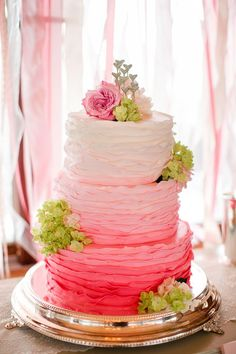 34 Delicate Ombre Wedding Cake Ideas from Pinterest | http://www.deerpearlflowers.com/delicate-ombre-wedding-cake-ideas/