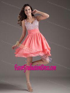 Unique Perfect Straps Short Watermelon Chiffon Graduation Dresses with Beading