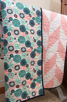 peach and white with machine embroidered center panel grays Little Princess 44 x 56 quilt in teal