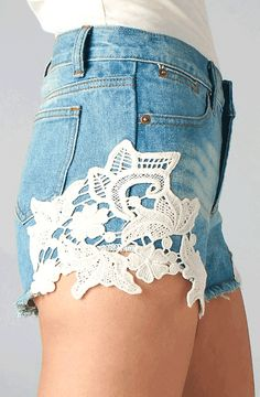 Lace denim shorts - Love this!  Now all I need are the legs to look that good in them. ;-)