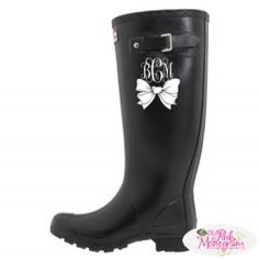 Monogrammed Bow Boot Decal