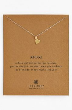 Free shipping and returns on Dogeared 'Mom' Boxed Pendant Necklace at Nordstrom.com. Let Mom know what she means to you with this delicately handcrafted necklace with a teeny, symbolic heart at the center.