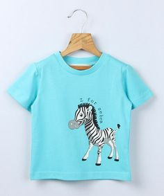 Take a look at this Turquoise Zebra Tee - Infant & Toddler by Beebay on #zulily today!