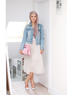 The Romantic Summer Dress   Inthefrow Levis Denim Jacket (similar) / Pinko Range Pleated Dress / Gianvito Rossi Heels / Hemsley London Slice Bag / Anna Sui Vesta Pink Lipstick