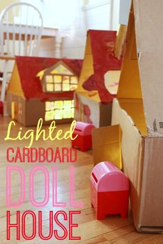Make a Lighted Cardboard Dollhouse -- An easy and fun collaborative art project to do with your kids!