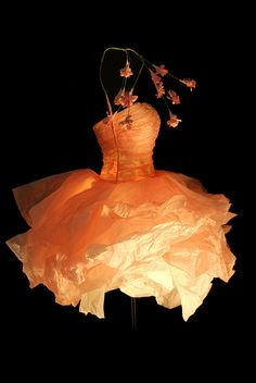 Georgia Karanika Karaindrou ~ Paper dress sculpture via gkaranika.com | Ballet Dancers *lovely detail of the paper flowers at her site*