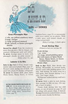 Do Ahead Appetizer Recipes 1958