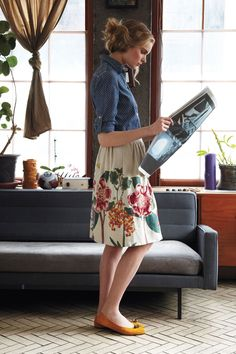 Denim with long floral skirt. Simple. Sometimes that's all it takes to look beautiful.