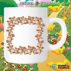 Caneca com Moldura Ilustração Personalizada para Foto - Ursinhos