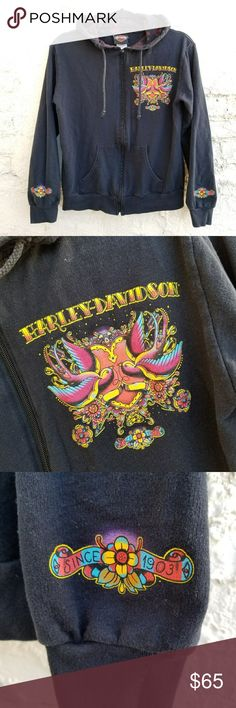 """{Harley Davidson} Temecula dealership hoodie. This badassss, yet feminine piece was sold at Quaid H/D in Temecula, California. Full zip black hoodie, double lined hood with inside print. Under the hood is the dealership graphic. Covered in old-school tattoo flash inspired graphics. NOTE: SIZE AND FABRIC TAG HAS FADED, MEASURES LIKE A TRUE XS, FEELS LIKE 100% COTTON. Measured length: 23"""" Bust: 37"""" flat before stretch. Could fit petite small as well. No flaws to note, some closeup photos…"""