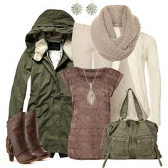 This is classy harmonizing with rustic for a fun outdoor winter look. The jacket and purse are a little rustic and the shoes have a modern cowgirl look. The top combo and white accessories are my favorite, but this outfit is great when you're stuck indoors.